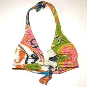 Jcrew 70's print green orange halter swim top